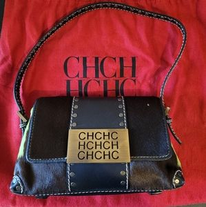 NWT Carolina Herrera Brown/Green Hair Bag